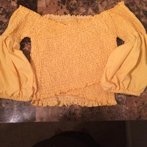 Blouse Yellow casual off the shoulder